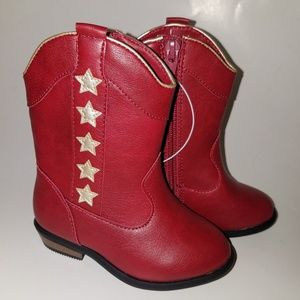 NWT Cat & Jack Red Cowboy Boots Gold Stars Toddler
